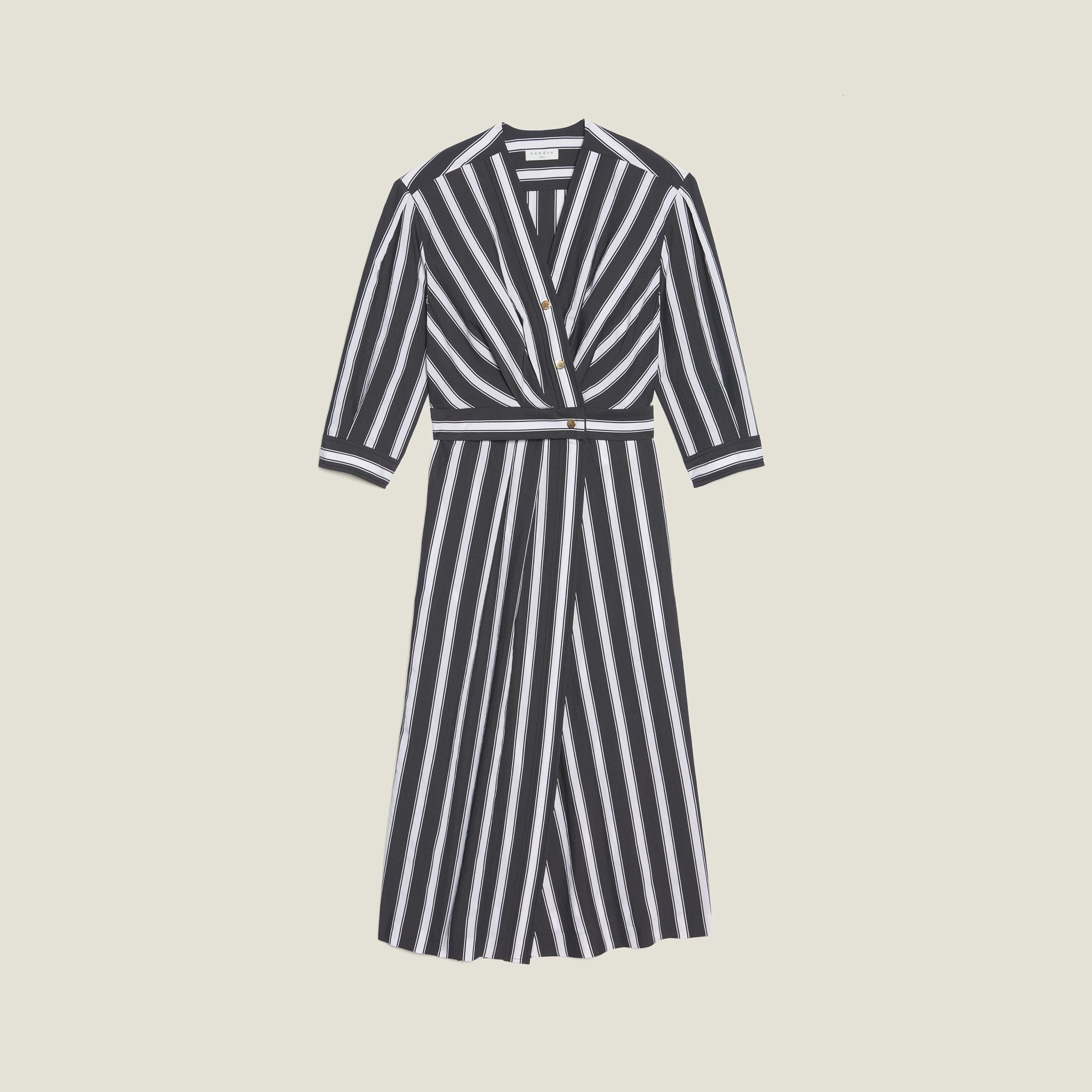 Sandro Midi dress with contrasting stripes -   15 dress Silk christmas gifts