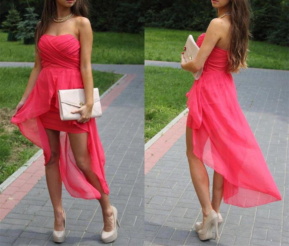 New fashion sexy short strapless evening dresschiffon prom gown