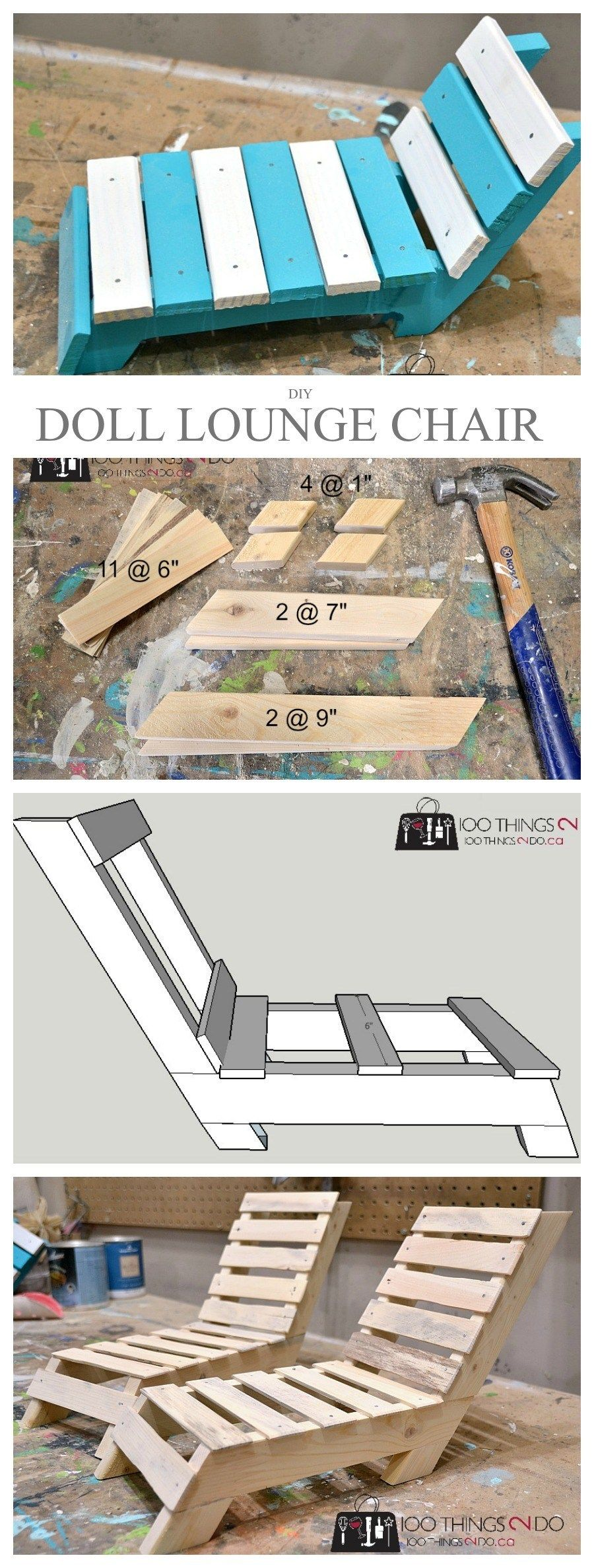 DIY Doll Furniture - Patio Lounger | 100 Things 2 Do #dollfurniture
