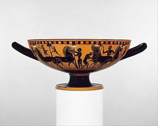 Terracotta kylix (drinking cup)  Attributed to the Amasis Painter     Period:      Archaic  Date:      ca. 540 B.C.  Culture:      Greek, Attic  Medium:      Terracotta  Dimensions:      H. 4 7/8 in. (12.4 cm) diameter 10 1/8 in. (25.7 cm)  Classification:      Vases