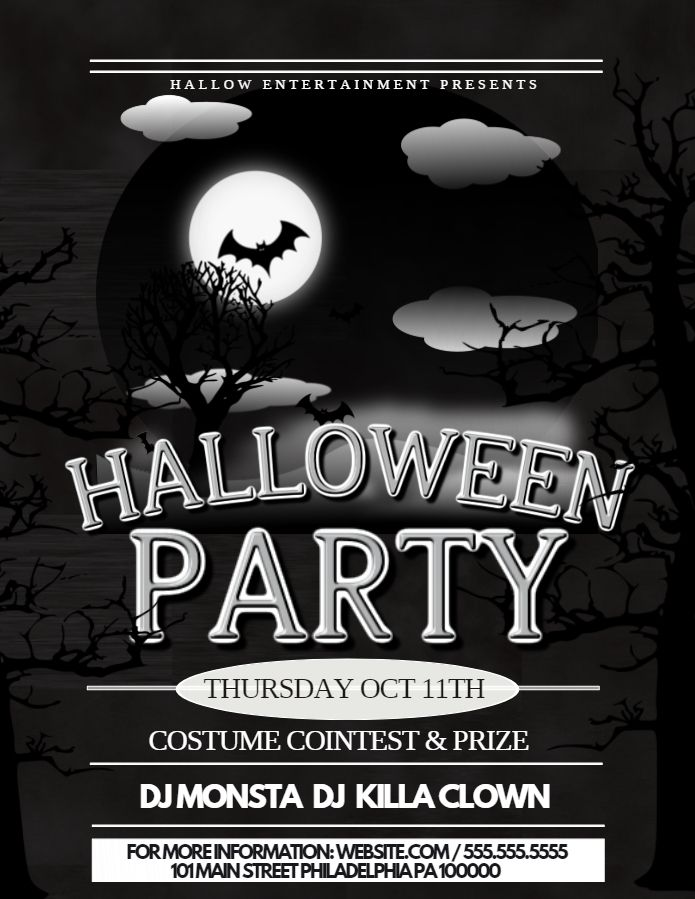 Monochrome Halloween Party Announcement Black And White Flyer Social