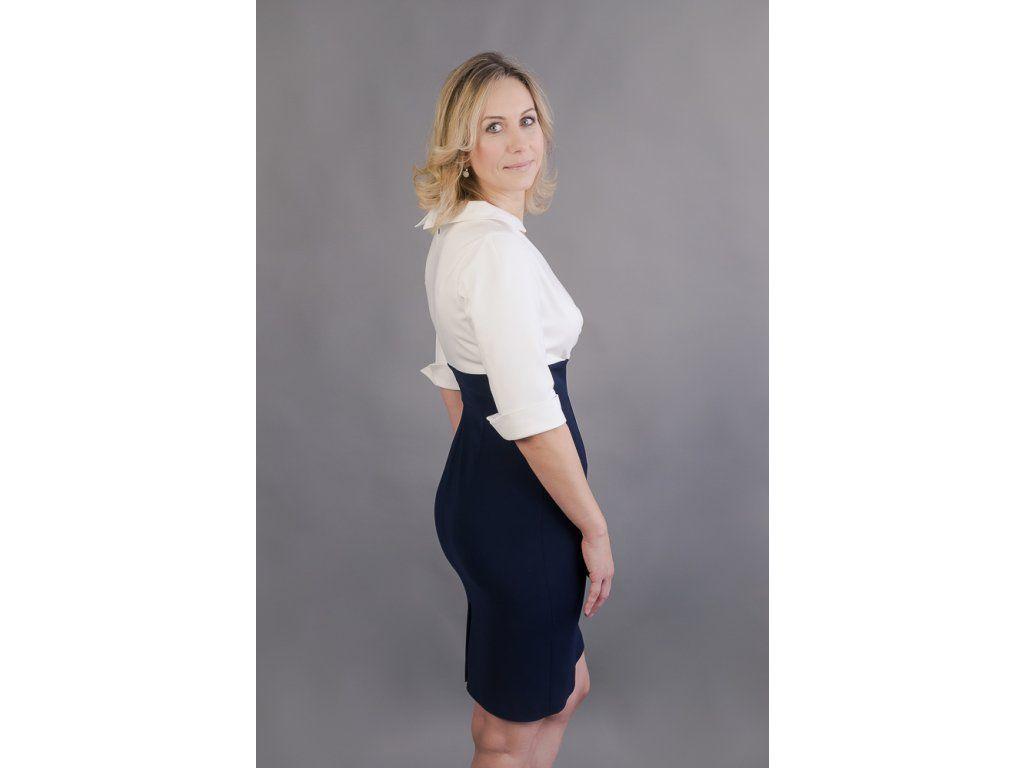 a550d480cfa Košilové šaty Margaret s pouzdrovou sukní šaty mají skládaný živůtek a  košilový límeček 3 4 rukáv s manžetkou pouzdrová sukně v délce 60cm zip na  zádech