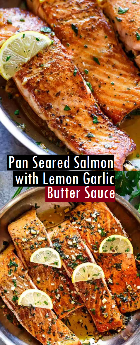 Pan Seared Salmon with Lemon Garlic Butter Sauce - SundayRecipes #searedsalmonrecipes