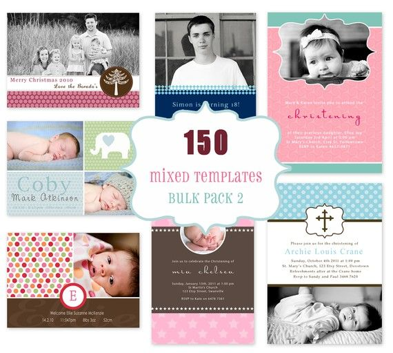 Commercial Use Package 150 Photo Card Templates Bulk 2 Includes – Bulk Birthday Invitations