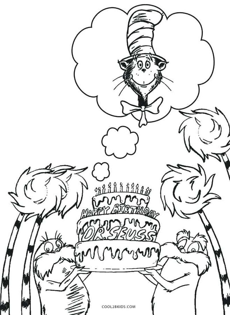 Cat In The Hat Coloring Pages Dr Seuss Coloring Pages Dr Seuss Art Birthday Coloring Pages