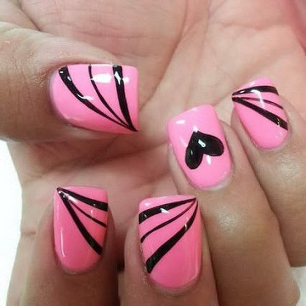 50 Beautiful Pink And Black Nail Designs 2017 Pink Nail Art Designs Black Nail Designs Pink Nail Art