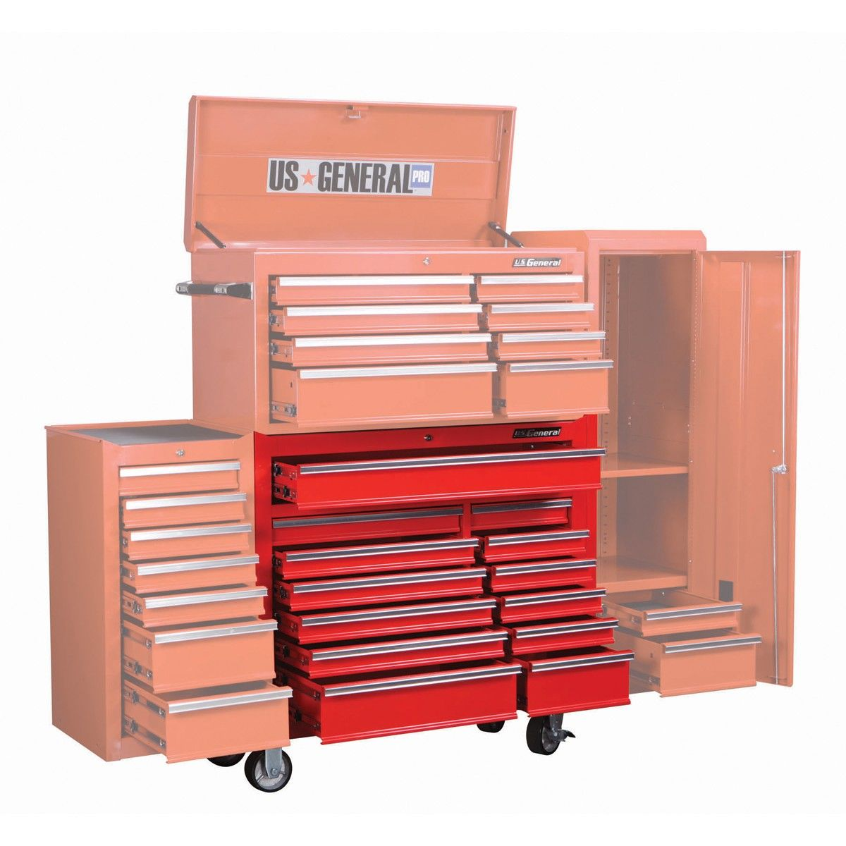 U S General Pro  Drawer Gloss Red Industrial Quality Roller Cabinet