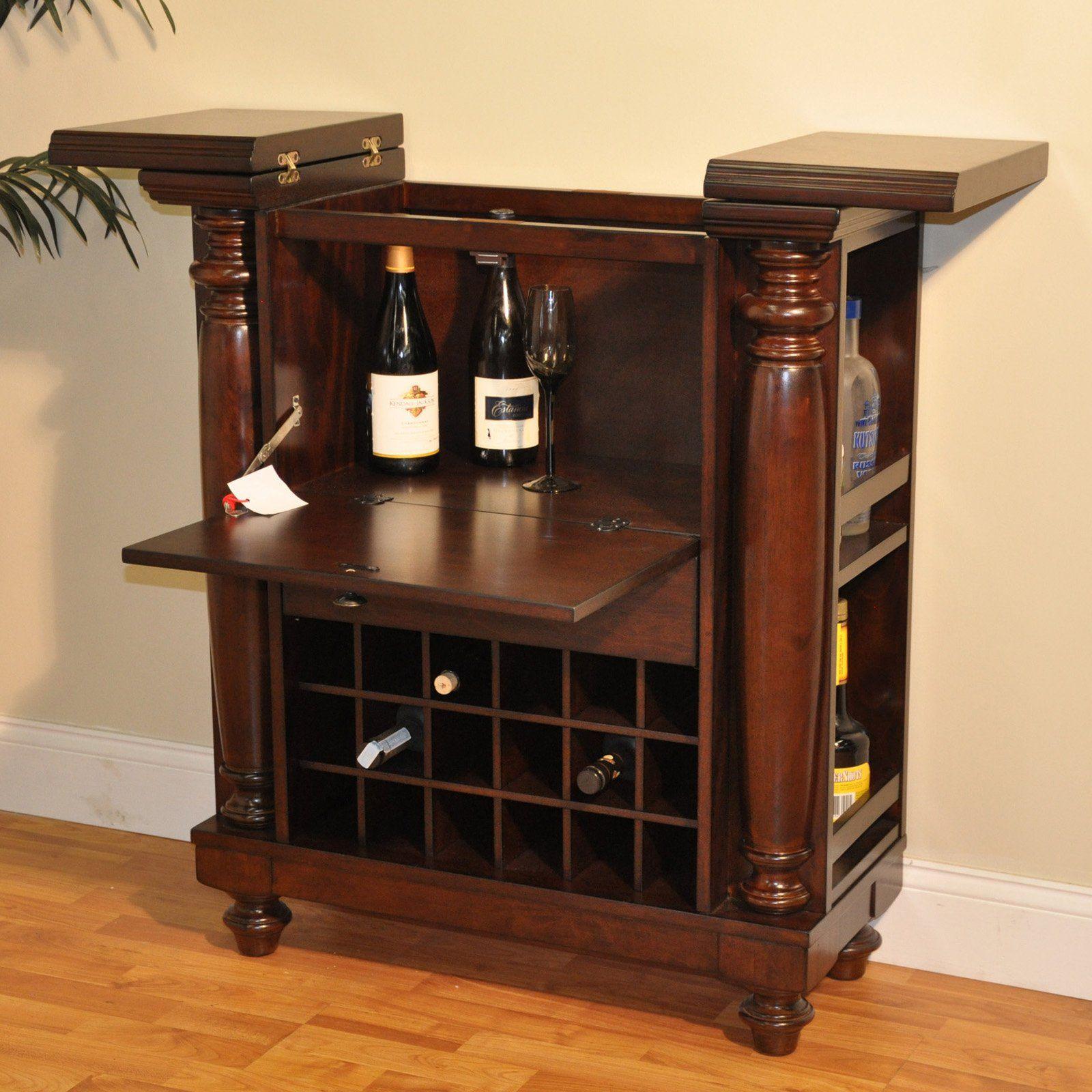 Williamsburg Flip Top Bar Cabinet   Rustic Mahogany   Convenient Home Bar  Storage Is Seldom As