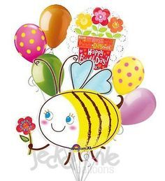 7 pc Bumblebee & Flowers Happy Birthday Balloon Bouquet Party Decoration Bee