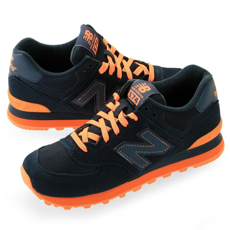 new balance 574 azul marino y naranja