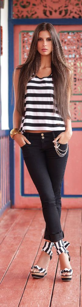 Black and white striped top with matching heels. From styletracker-na.tumblr.com #style #fashion