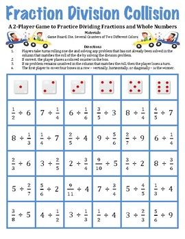 Fraction Division Collision A Game To Divide Fractions And Whole Numbers Fractions Division Dividing Fractions Fractions