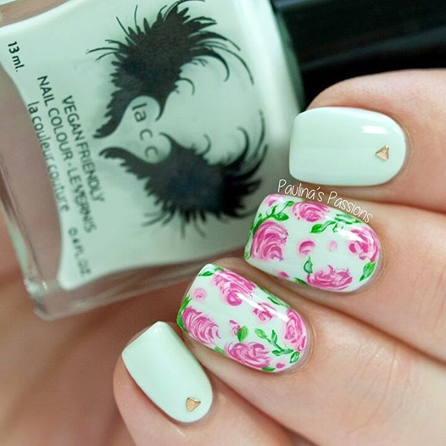 Mint and Pink Floral Nails With Roses | DECORACIÓN DE UÑAS ...
