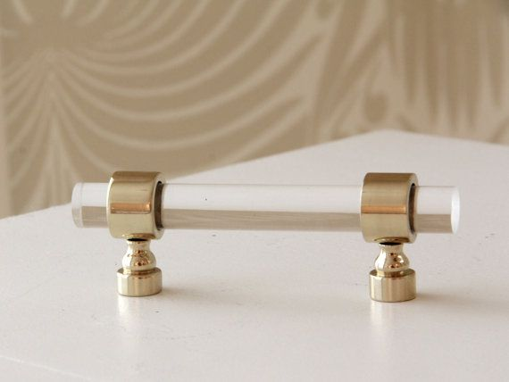 Drawer Pulls   Polished Brass Lucite Cabinet Handles   Longer For Closet  Pulls?