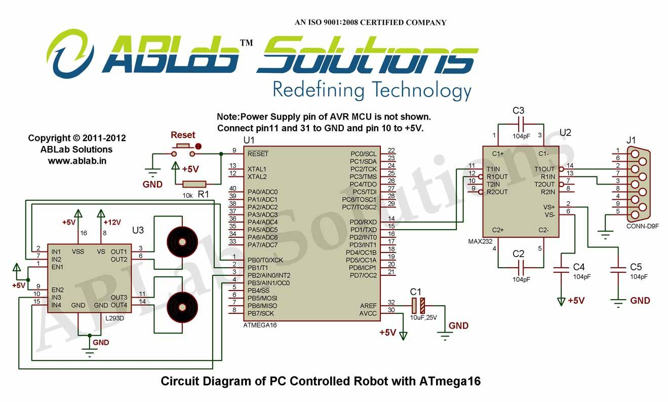 Pc Controlled Robot With Avr Atmega16 Microcontroller Circuit 7 Segment Decoder Diagram