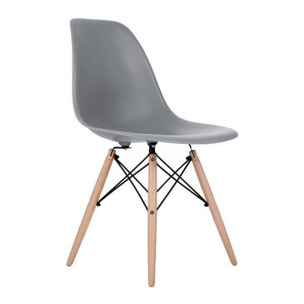 gray eames style molded plastic dowel leg dining side wood base