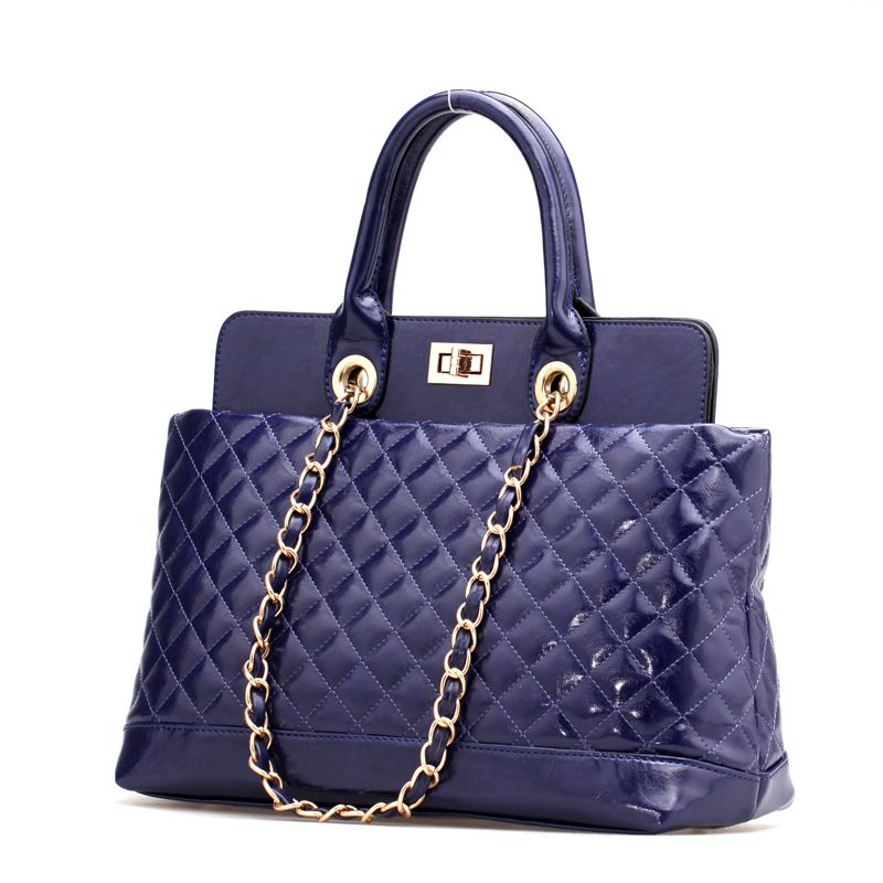 women Plaid chain solid color pu leather bag