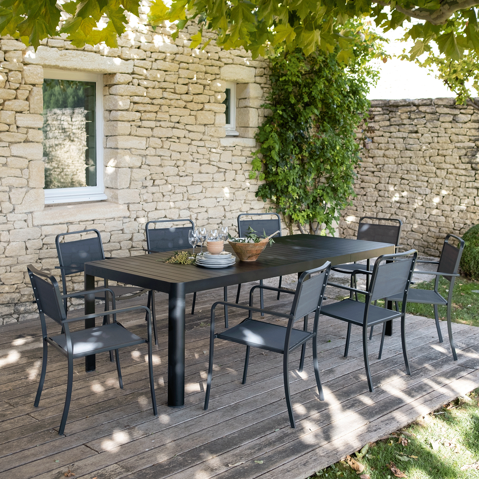Table de jardin extensible en aluminium noir (8 à 10 places ...