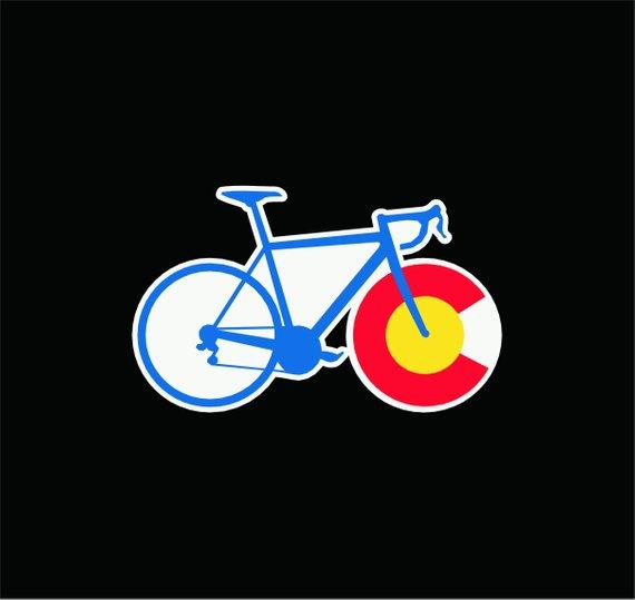 Colorado State Flag Cycling Vinyl Sticker Decal Co I Love Etsy Colorado State Flag Vinyl Colorado