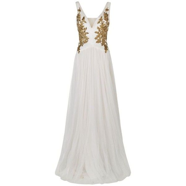 Marchesa Embroidered Gown (224,155 MXN) ❤ liked on Polyvore featuring dresses, gowns, kleider, special occasion dresses, white embroidered dress, white holiday dress, white cocktail dresses and cocktail dresses