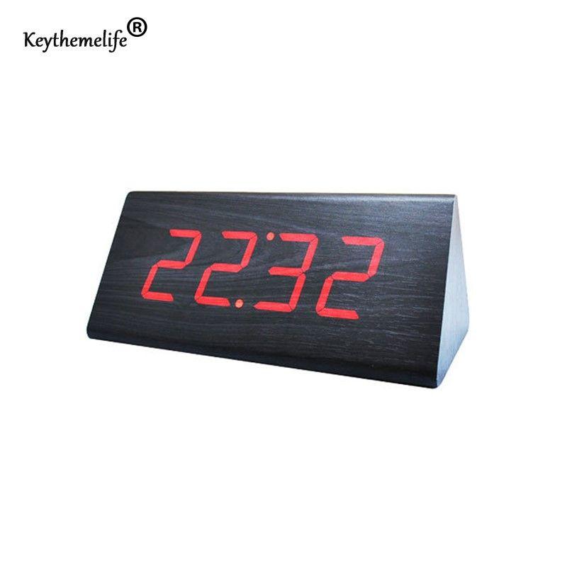 Keythemelife Simple Alarm Clock Temperature Sounds Control LED Display  Electronic Desktop Digital Table Clocks Bedroom Decor