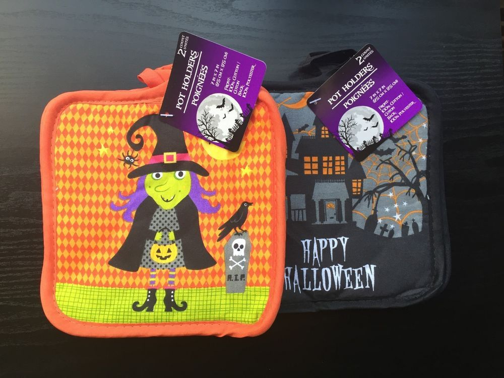 Halloween Decor Lot of 4 Pot Holder Hot Pad New With Tags Haunted