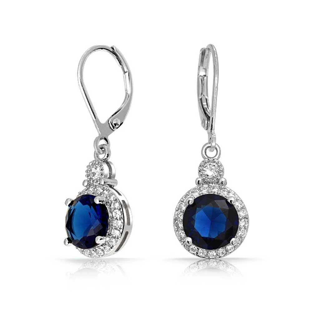 Round Color Cz Pave Bridal Leverback Dangle Earrings Bling Jewelry