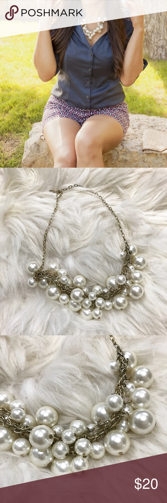 White Pearl Bauble Gold Chain Statement Necklace In great condition, worn a few times. White faux pearl circular baubles layered along a gold chain. Lobster clasp.  ❌NO TRADES OR PAYPAL❌ Jewelry Necklaces