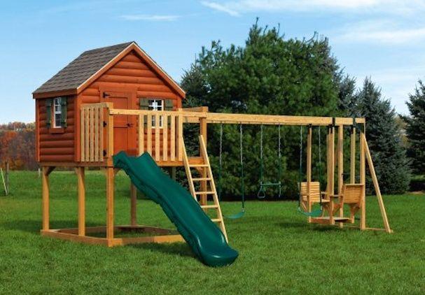 Wood Yard Kids Play Set Pc Xl4 Log Cabin Wood Children S