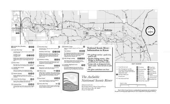 Mio Au Sable river canoeing map | Ausable N S R | Fishing