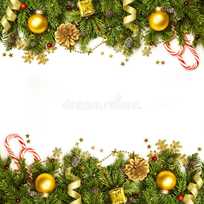 Christmas Decoration Border Background Isolated On White Horizontal Christm Sponsored Iso Christmas Tree Branches Christmas Decorations Tree Branches