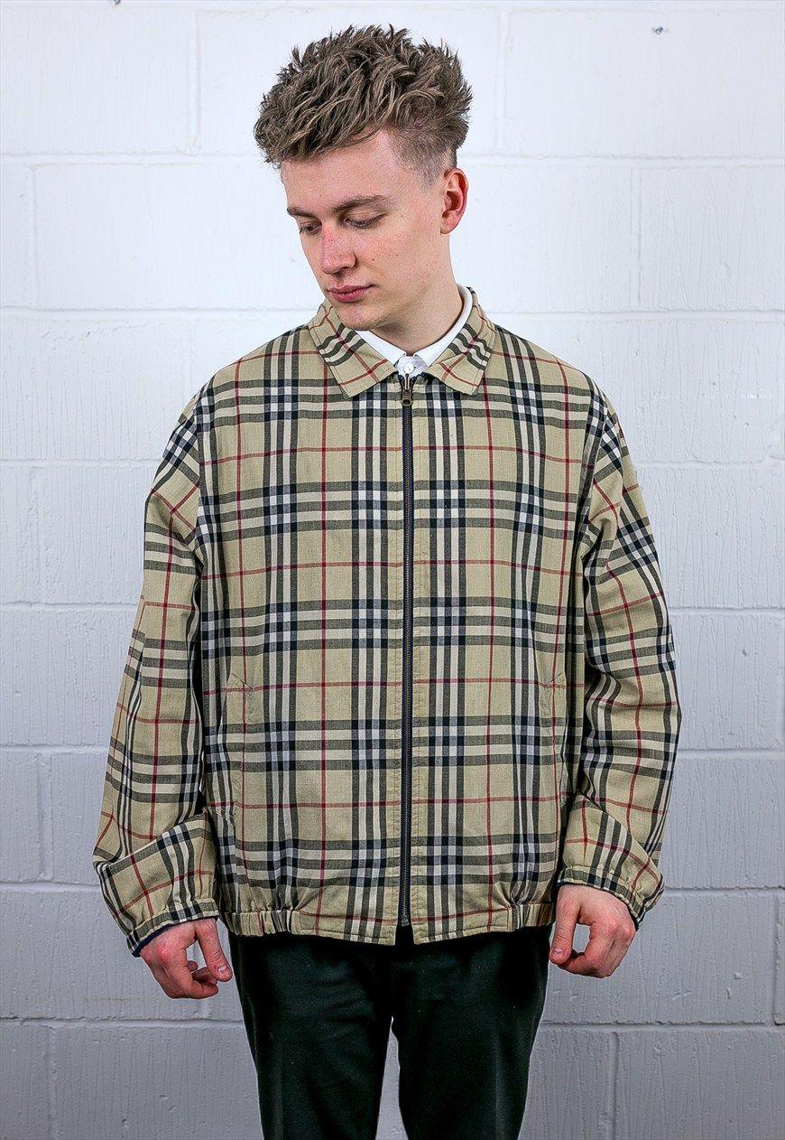 Vintage burberry reversible harrington jacket fits like an xl 52 measuring 26