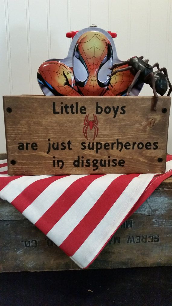 Spiderman Superhero box, little boys bedroom decor, crafted from ...
