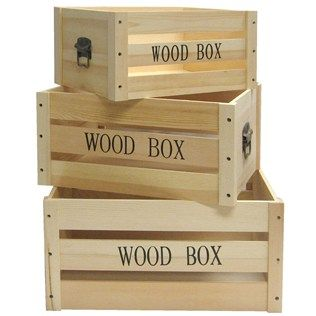 Wood Box Crate Set With Antique Brass Handles I M Thinking That