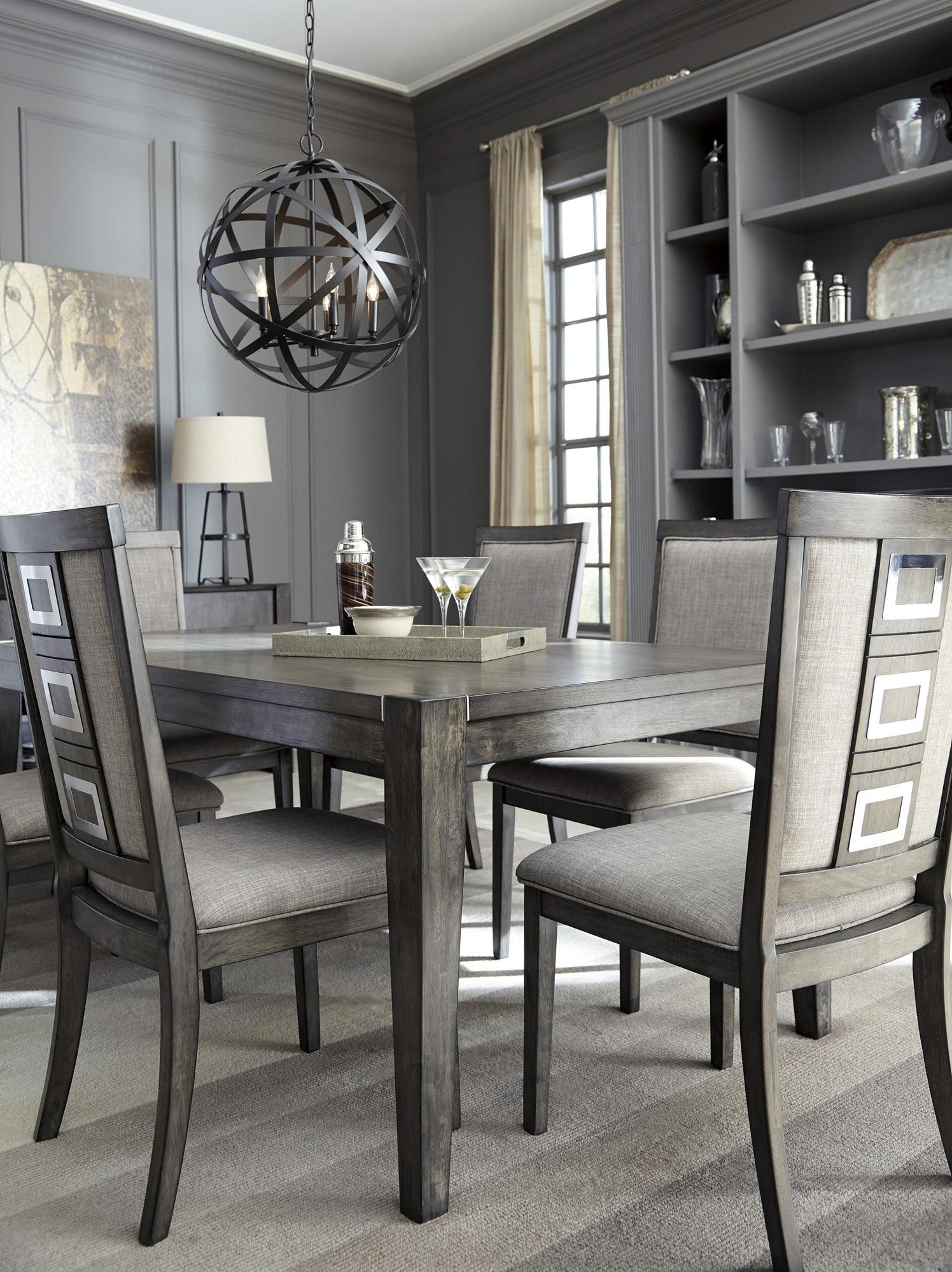 chadoni rectangular dining room extension table in gray ashley home gallery stores