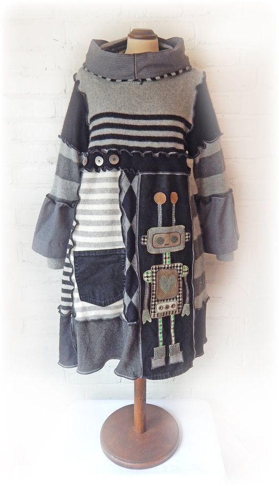 Cashmere Jumper Dress Tunic Monochrome Robot Stripe Sweater Upcycled ...