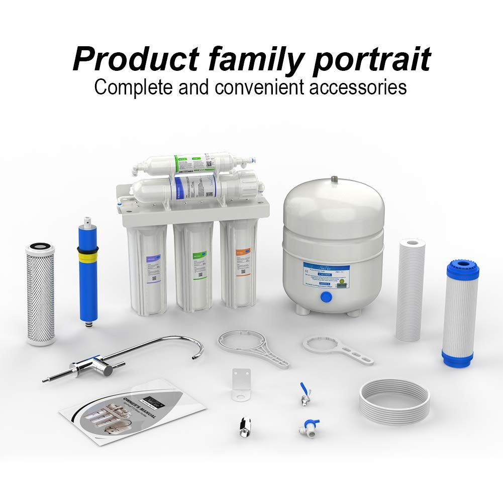 5 Stage Under Sink Reverse Osmosis Drinking Water Filter System Faucet Purifier