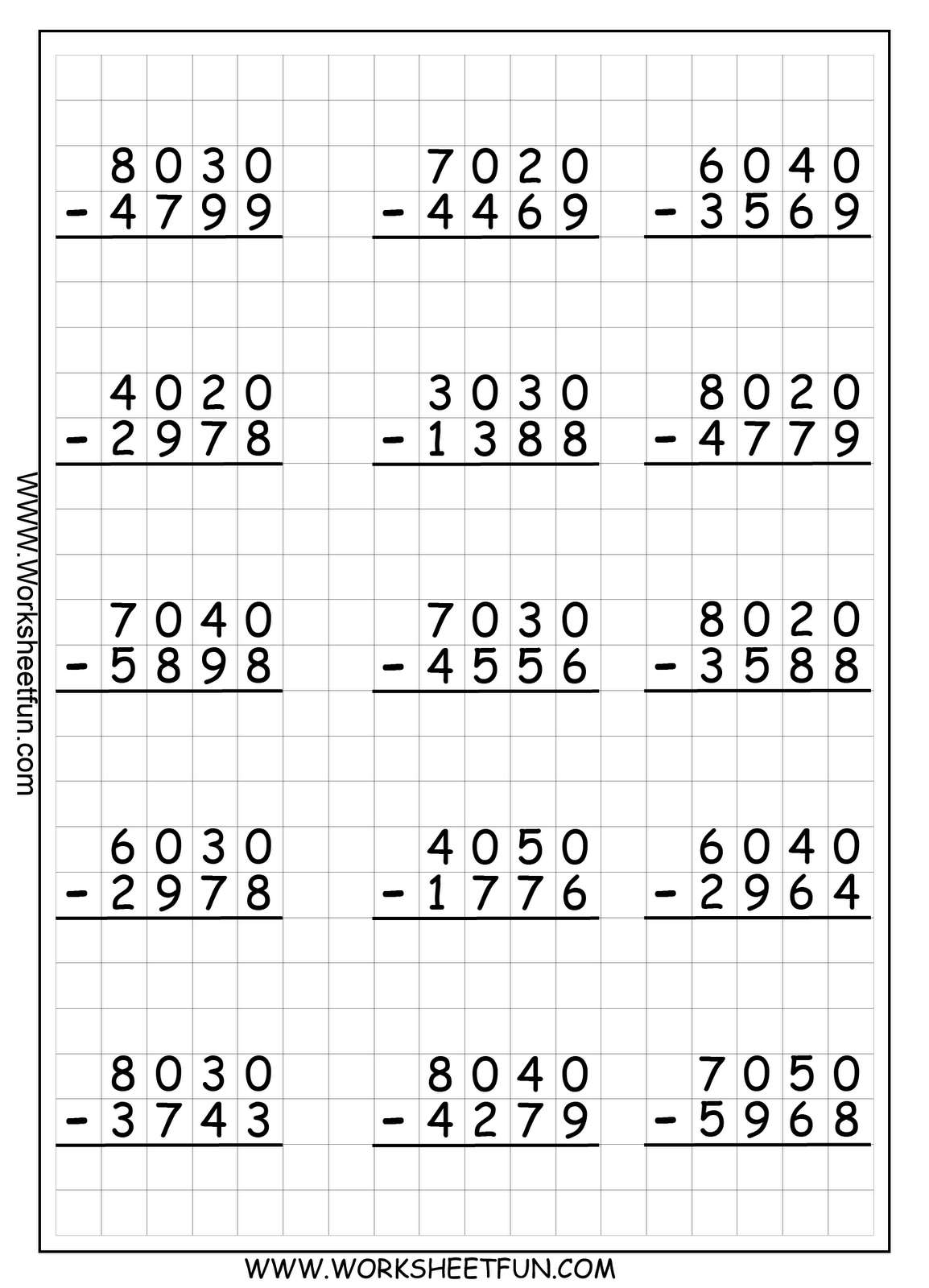 small resolution of 4 digit regrouping subtraction   Math subtraction