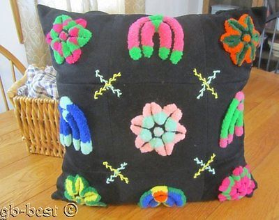 "Farm House PA Mennonite Amish Quilt STUMP WORK Pillow 21"" x 21"" vintage"