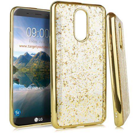 Mundaze LG Stylo 4 Plus Case, Gold Chrome Edge Glitter