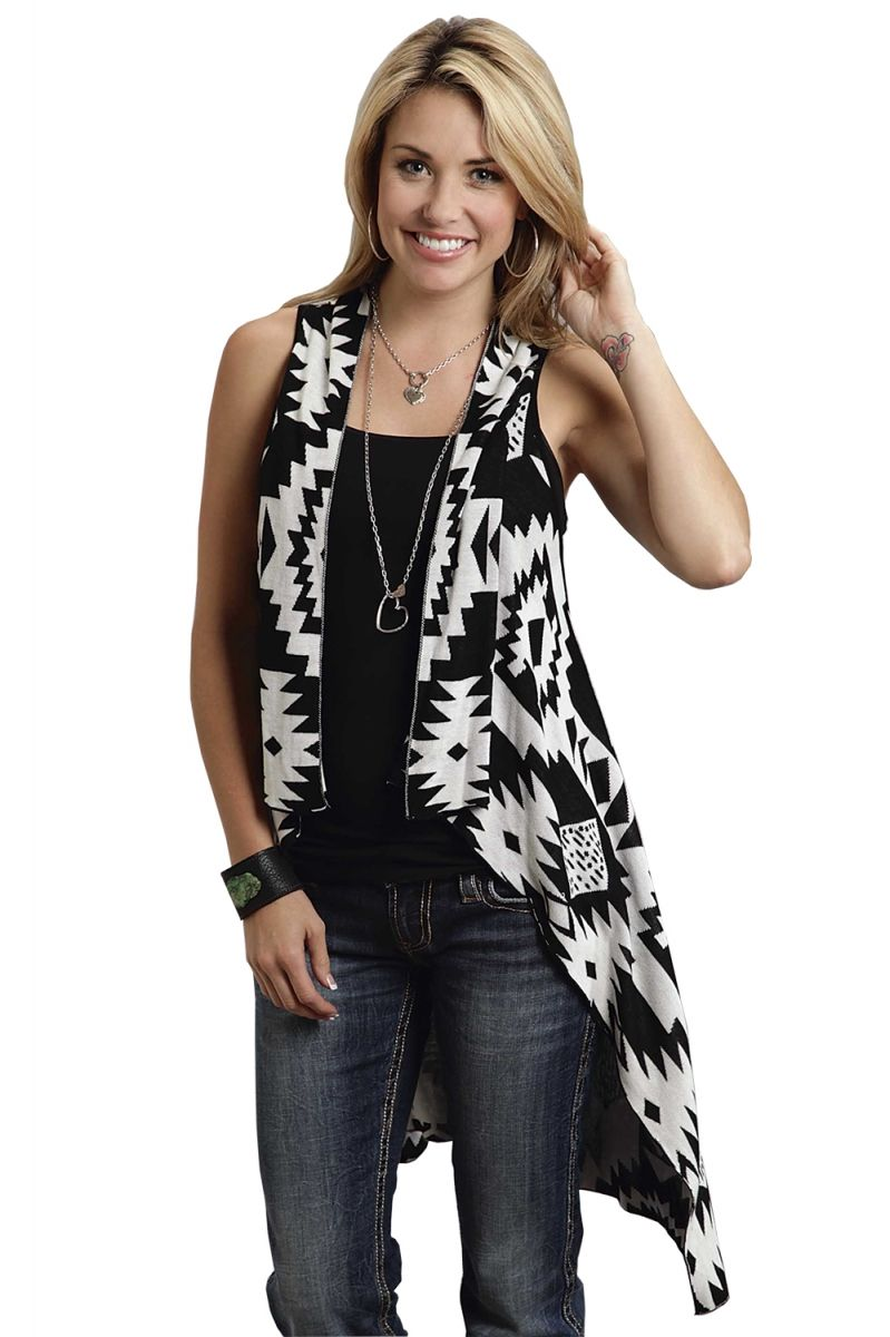 00cd699389d17 Stetson Women s Black   White Knit Sleeveless Western Summer Cardigan