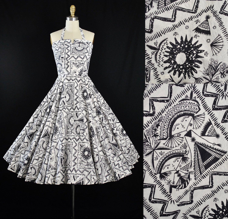 Vintage 50s Novelty Print Dress / 1950s Sundress AZTEC Mayan QUEEN ...