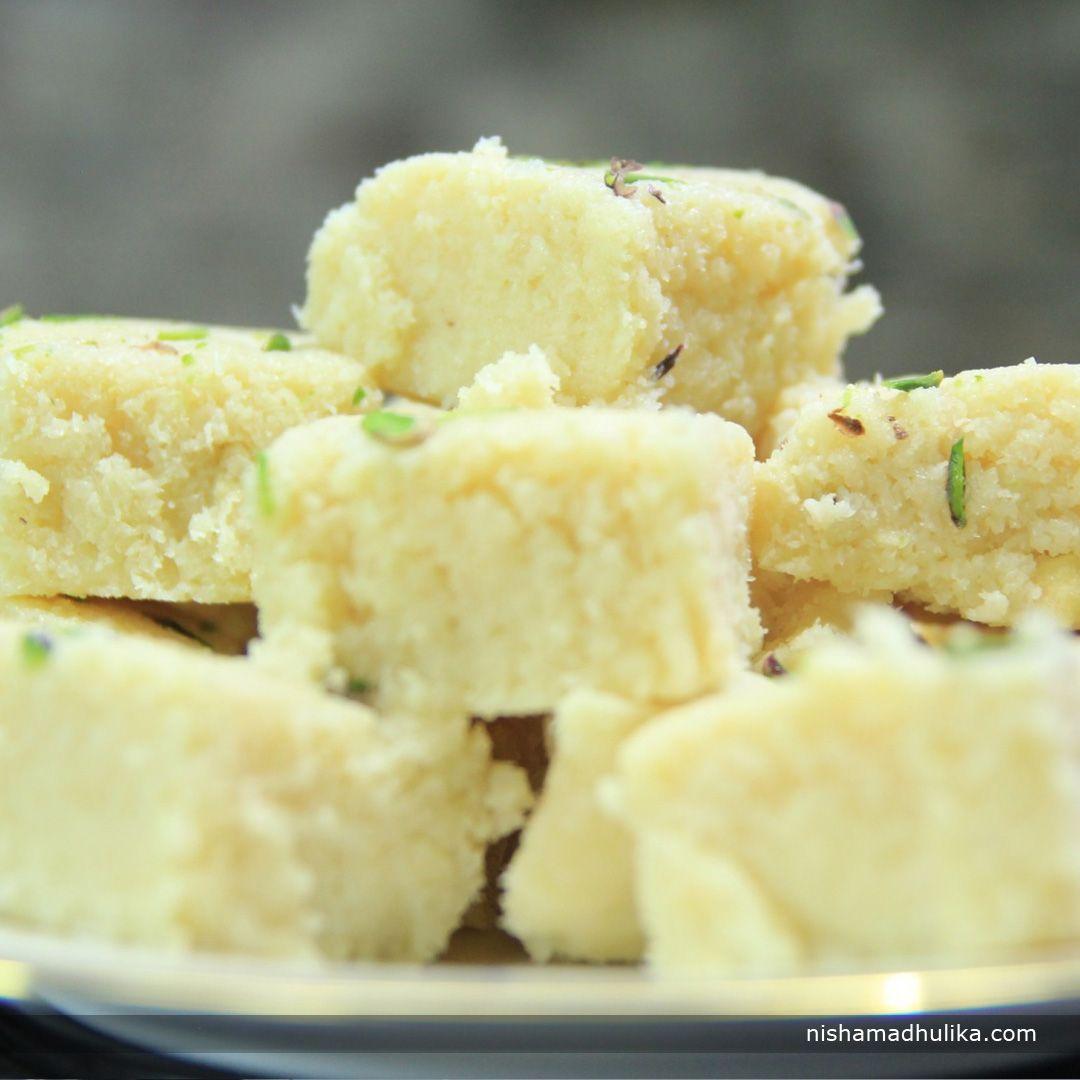 Instant Coconut Barfi Prepared With Condensed Milk And Coconut Powder Is Super Delicious And Easy To Prepare Barfi Burfi Recipe Sweet Meat Coconut Barfi Recipe
