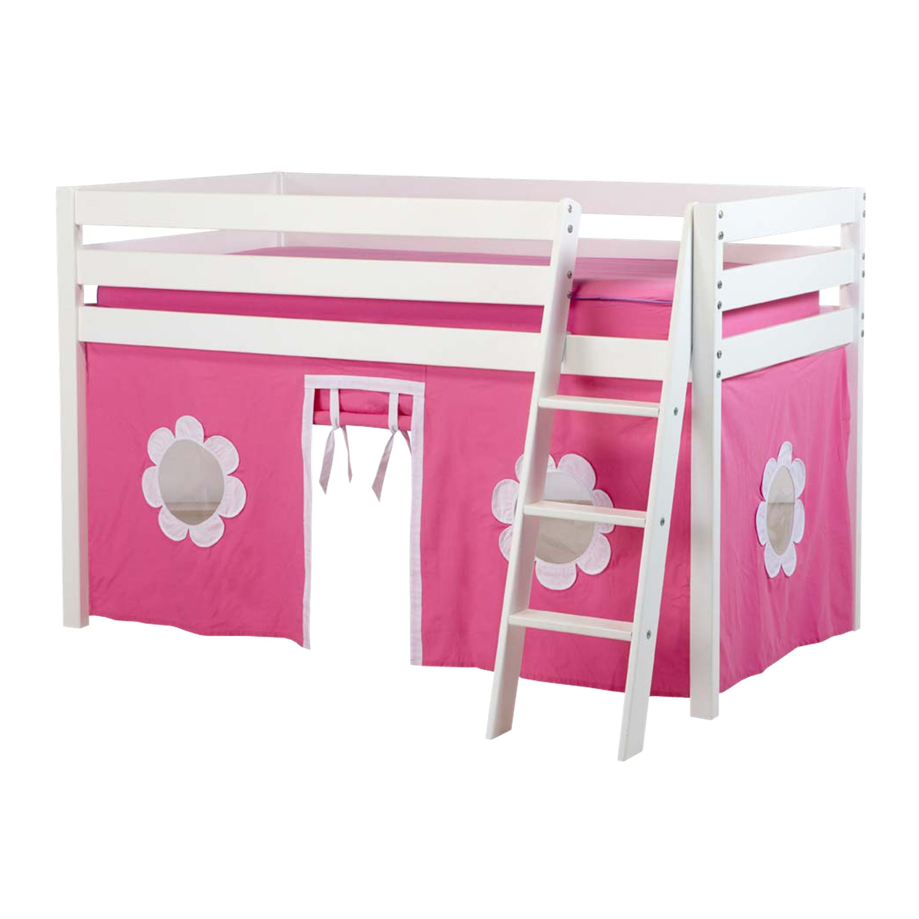 Low loft bed with desk and storage  JACKPOT Low Loft Bed with Angle Ladder and Underbed Curtain Cherry