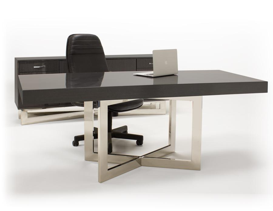 Modern 75 Gray Oak Executive Office Desk With Stainless Steel