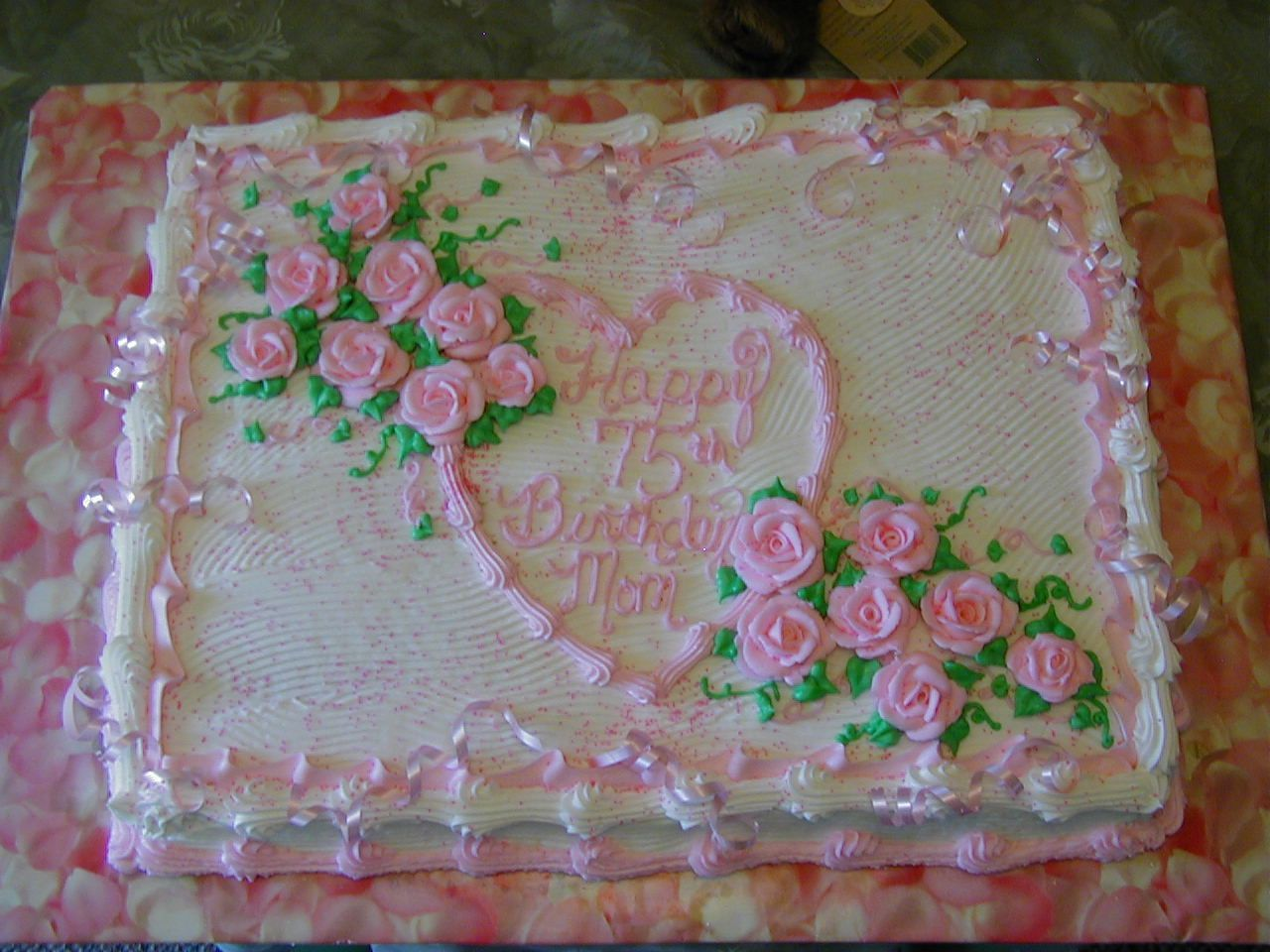 Pink+Happy+Birthday+Cake+with+Roses | Decorated sheet cake ...
