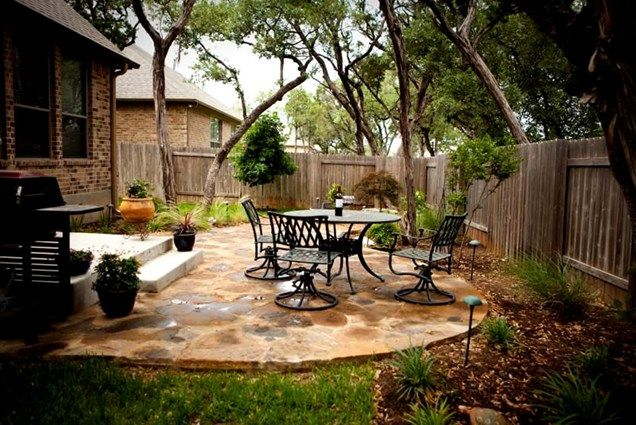 Flagstone Patio, Small Backyard Patio GreenScapes Landscaping And Pools  Austin, ...