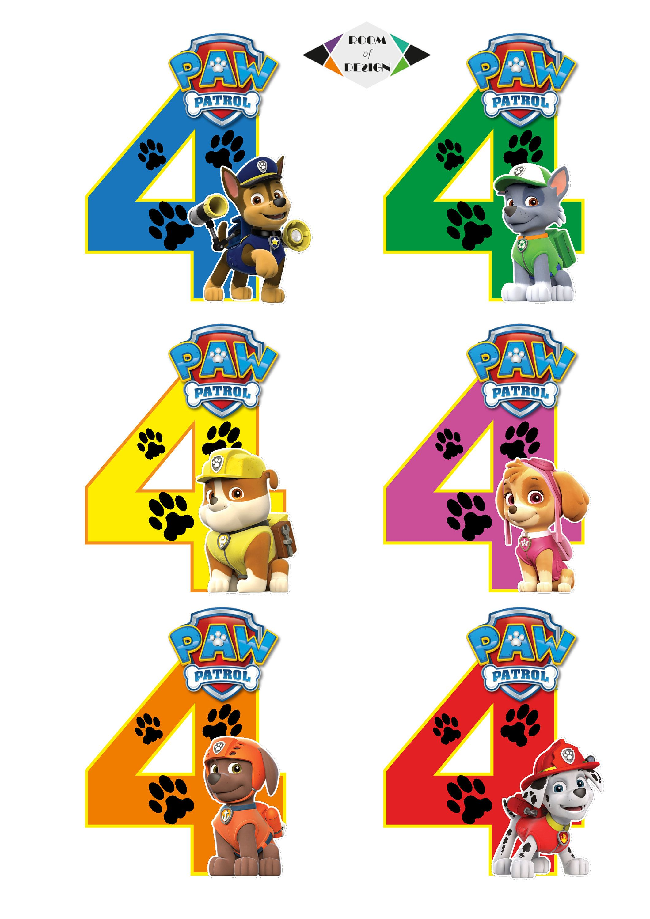 Paw Patrol Number 4 Centerpieces Paw Patrol Centerpieces Etsy