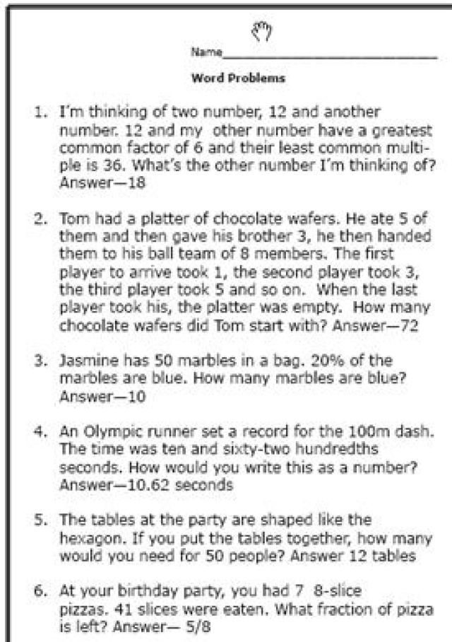 6th grade math problems and answers