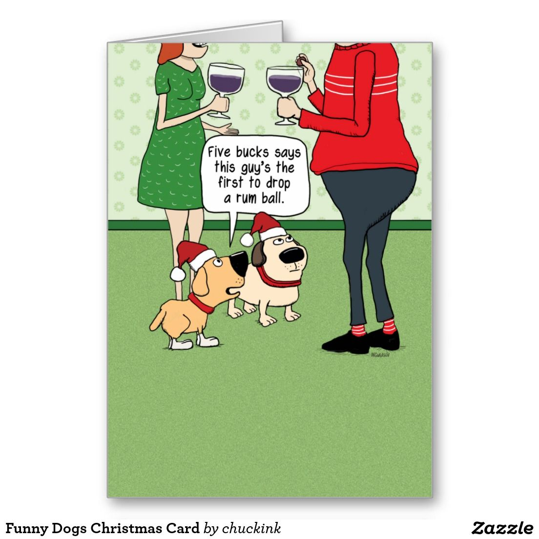 Funny Dogs at Party Christmas Card | Zazzle.com ...